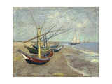 Fishing Boats on the Beach at Les Saintes-Maries-De-La-Mer Stampa giclée di Vincent van Gogh