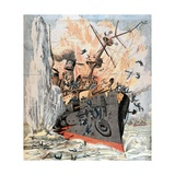 Russian Ship Sunk by Japanese Torpedo During Russo-Japanese War Giclee Print