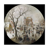 A Winter Scene with Skaters Near a Castle Giclee Print by Hendrick Avercamp