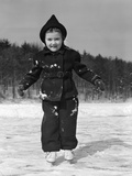 1930s Worried Cautious Little Girl on Ice Skates Photographic Print