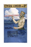 Central London Railway Poster with Neptune Giclee Print