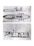 Steamboat and Submarine Plans Giclee Print by Robert Fulton