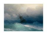 Ship on Stormy Seas Giclee-trykk av Ivan Konstantinovich Aivazovsky