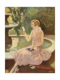 Young Woman Reading a Love Letter by a Fountain Giclee Print
