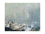 New York City Skyline from Brooklyn Harbor, Ships Docked in Foreground Giclee Print by Joseph Pennell