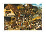 The Dutch Proverbs Gicleetryck av Pieter Bruegel the Elder