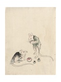 Two Mice in Council Giclée-Druck von Katsushika Hokusai