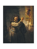 Samson Threatening His Father-In-Law Giclee Print by  Rembrandt van Rijn