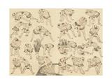 Sumo Wrestlers Giclee Print by Katsushika Hokusai