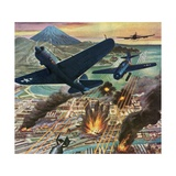American Helldiver Planes Bombing Tokyo During World War II Giclee Print