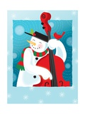 A Happy Snowman Playing an Upright Bass Giclee Print