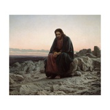 Christ in the Wilderness Lámina giclée por Ivan Nikolaevich Kramskoi