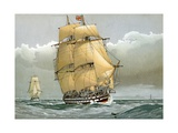 A 74 Gun Royal Navy Ship of the Line Stampa giclée