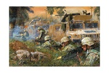 American Soldiers Firing on Iraqi Insurgents Giclee Print
