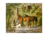 Horses at the Porch Giclee Print by Albrecht Adam