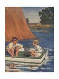 Illustration of Children in Sailboat Giclee Print