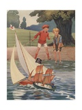 Illustration of Boys Playing with Toy Boats Giclee-trykk