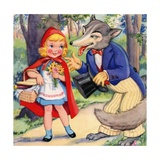 Little Red Riding Hood and Big Bad Wolf in Woods - Giclee Baskı