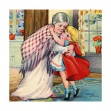 Little Red Riding Hood Hugging Her Grandmother Giclee Print
