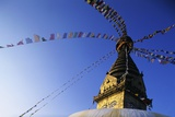 Prayer Flags Hanging from Swayambhunath Stupa Photographic Print by Paul Souders