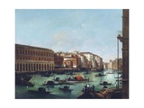Grand Canal of Venice at the Rialto, with Gondolas Giclee Print by Giuseppe Bernardino Bison