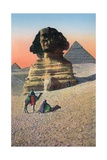 Men on Camels in Front of the Sphinx and Pyramids Giclee Print