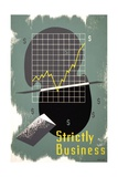 Poster with Graph of Rising Profits and Dollar Signs Giclee Print