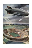 Hindenburg Zeppelin Above the Olympic Stadium in Berlin Giclee Print