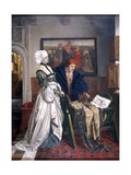 Charles V and Jeanne Vandergeynst at the Cradle of their Daughter Marguerite Giclee Print by Willem Geets