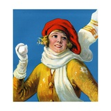 Smiling Woman Holding Snowball Giclee Print