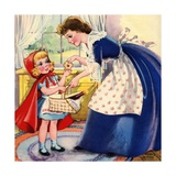 Mother Giving Cookies to Little Red Riding Hood Giclee Print