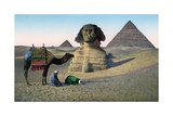 Men Praying to Mecca in Front of the Sphinx and Pyramids Giclee Print