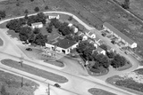 Aerial View of Roadside Motel and Gas Station in Indiana, Ca. 1950 Photographic Print