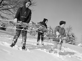 1960s Three Boys Holding Sleds Looking Downhill Photographic Print