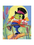 Frog Holding Bouquet Giclee Print