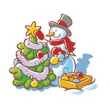 A Snowman Decorating a Christmas Tree Giclee Print
