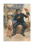 Little Boy Talking to Sailor with Parrot Reproduction procédé giclée