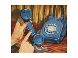 Hand Holding Blue Rotary Telephone Receiver Giclee Print