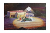 Gas Station at Night Giclee Print