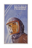 Soviet Poster with Pilot Wearing Helmet Giclee Print