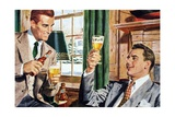 Men Drinking Beer after Work Giclee Print