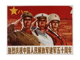 Poster with Three Members of Chinese Armed Forces Giclee Print