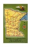 Minnesota State Map Giclee Print