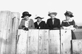 Four Adult Sisters Pose Along a Fence, Ca. 1910 Photographic Print