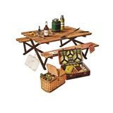 Picnic Table with Picnic Basket and Dish Set Giclee Print