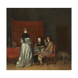 Three Figures Conversing in an Interior, known as 'The Paternal Admonition,' Giclee Print by Gerard ter Borch