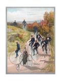 Group Riding Penny-Farthing Bicycles Giclee Print