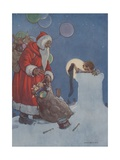 Little Boy Holding Out Chrimas Stocking to Santa Claus Giclee Print