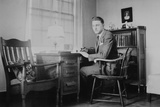Harvard Grad Student Studies as His Desk, Ca. 1938 Photographic Print
