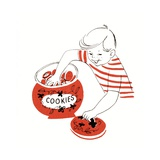 Illustration of a Young Boy with His Hand in the Cookie Jar Giclee Print